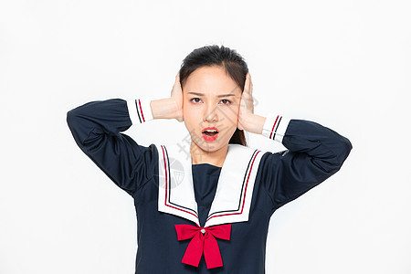学院风大学生JK服美女堵住耳朵图片