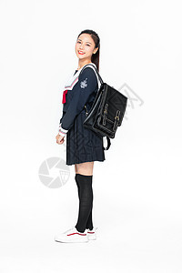 学院风学生JK服美女背书包图片