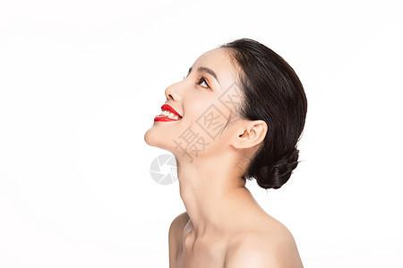 美女美容保养护肤侧脸图片