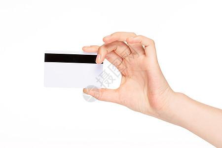 手持银行卡信用卡特写图片