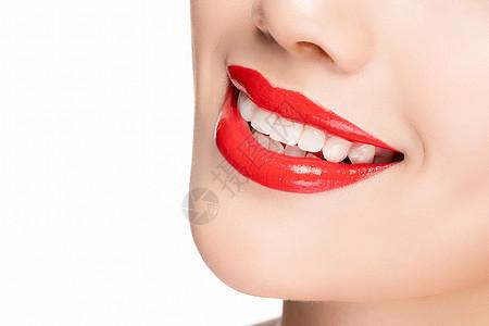 嘴巴红唇牙齿特写图片