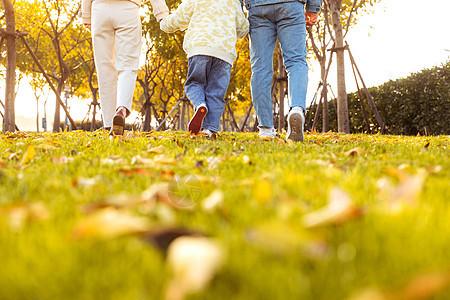 一家三口草地散步背影图片