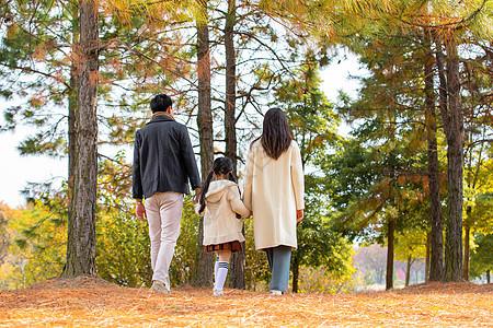 一家人公园散步背影图片