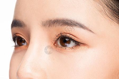 女性眼睛眉毛眼部细节特写图片