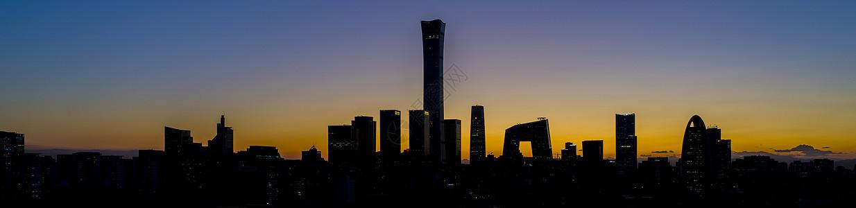 北京国贸的地标剪影图片