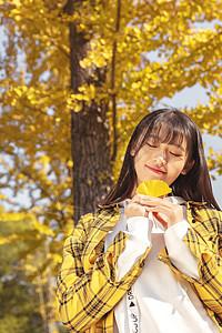 银杏树下手捧银杏叶的女孩图片