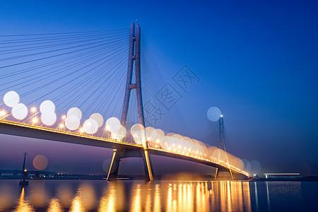 南京长江第三大桥夜晚光斑图片