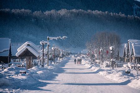 新疆冬季喀纳斯禾木古村落雪景雪乡图片