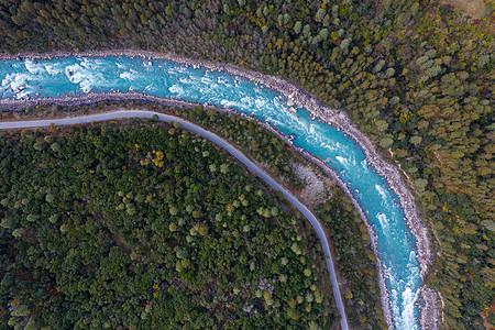 西藏自治区林芝市公路河流航拍图片