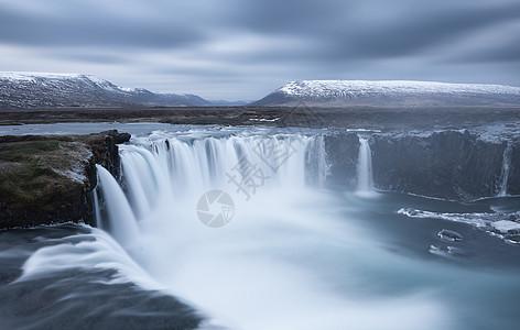 冰岛众神瀑布山川河流风光图片