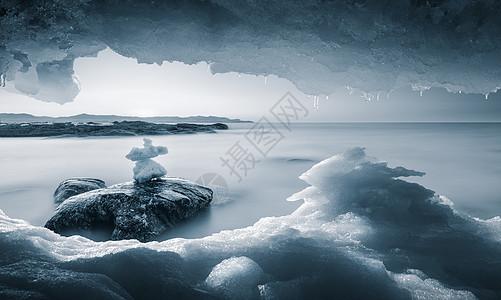 大连大黑石海岸东北冰雪世界风光图片