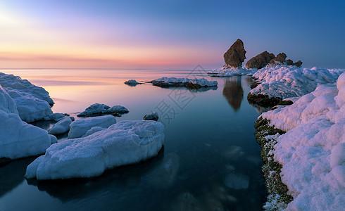大连驼山乡排石村海冰大海风光图片