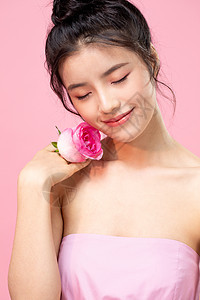 情人节美女和花图片