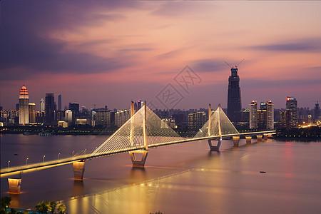 武汉长江二桥落日晚霞夜景图片