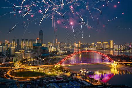 武汉城市灯光秀夜景节日烟花图片