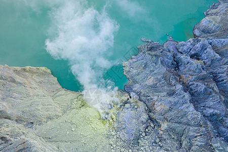 印尼宜珍火山湖硫磺开采航拍图片