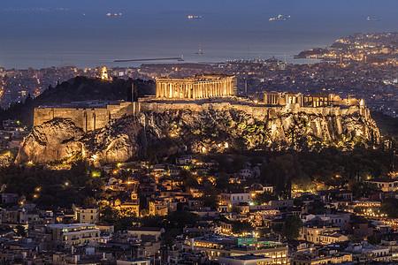 希腊雅典卫城夜景图片