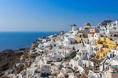 欧洲希腊著名圣托里尼日落小镇伊亚小镇风光图片