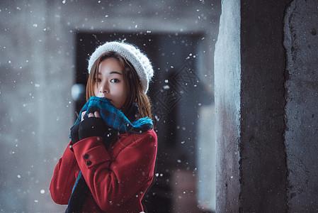 冬季雪景人像图片