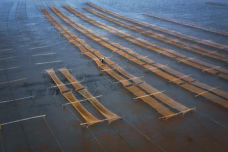 航拍海岸渔场图片