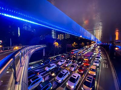 上海延安路高架车流夜景图片