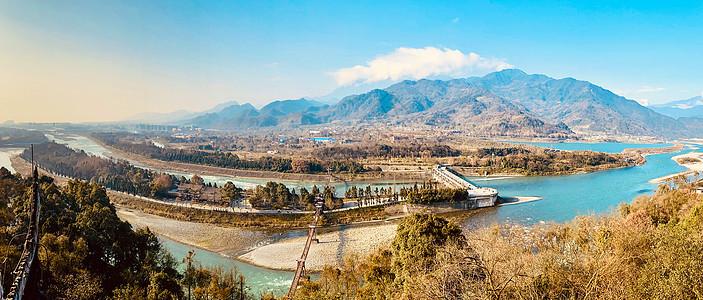 四川都江堰水利工程全景图图片