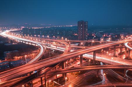 南京立交桥车流夜景图片