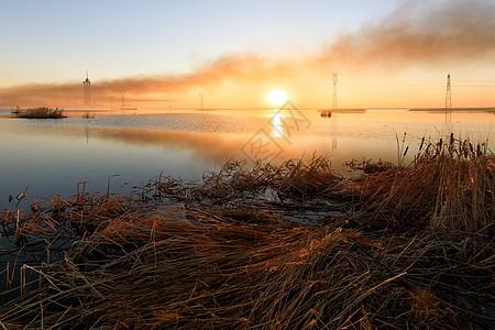 黑龙江省大庆市湿地公园日出图片