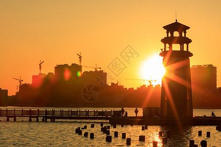 黑龙江省大庆市三永湖日落图片