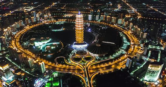 河南郑州郑东新区夜景图片