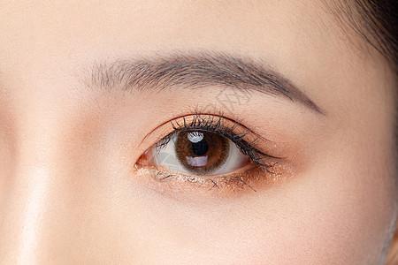 女性眼睛眉毛眼部特写图片