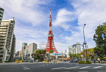 东京地标东京塔远景图片