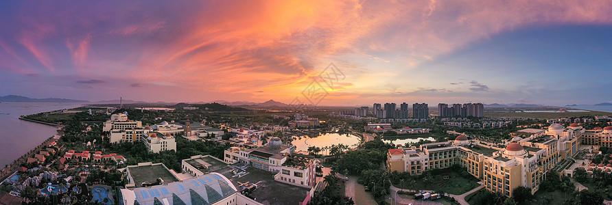 朝阳日出广东珠海海景海泉湾度假酒店全景长片图片