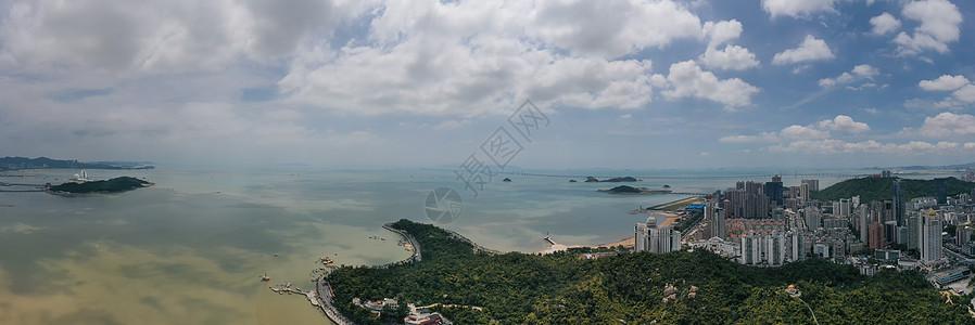 俯瞰广东珠海海景沙滩海岸线全景长片图片