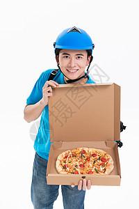 骑手外卖员送外卖比萨图片