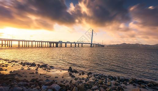 深圳港深大桥海景城市风光图片