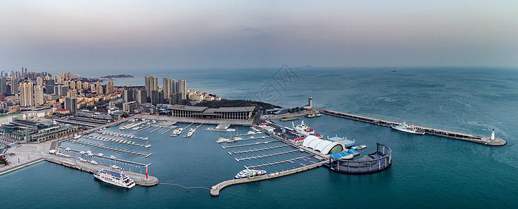 航拍青岛奥帆中心国际会议中心全景图片