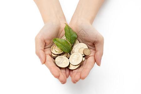 双手捧金币金融理财图片