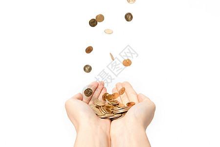 双手接硬币钱币图片