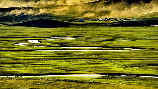 黄昏呼伦贝尔大草原莫日格勒河九曲十八弯落日图片