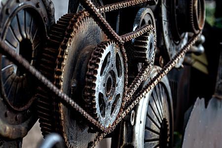 齿轮链条特写图片