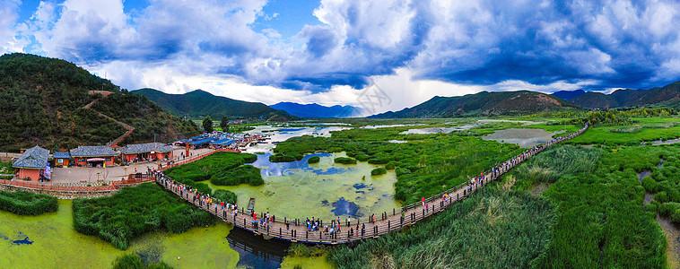 泸沽湖草海航拍图片