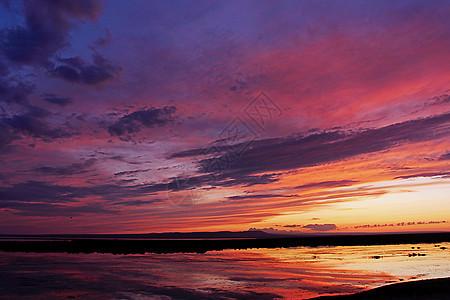 新疆海上魔鬼城湖边入夜前的童话天空图片