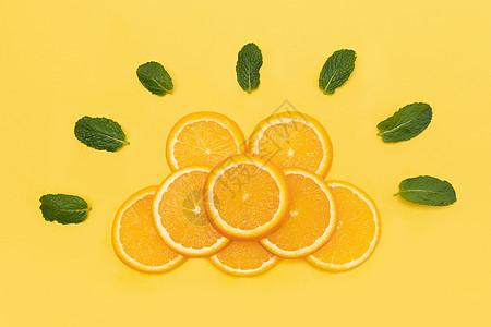 创意橙子水果切片组合图片