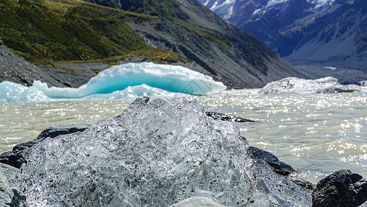 新西兰库克山冰川融化冰体特写图片