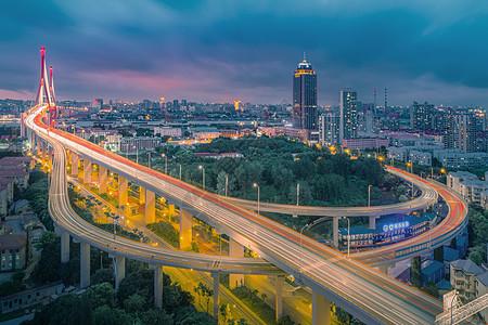 上海市杨浦大桥高架立交桥灯光夜景风光图片