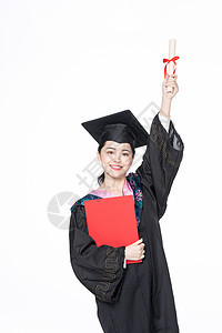 学士服美女大学生拿毕业证书图片