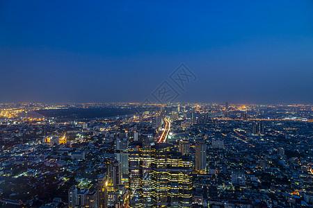 美丽夜景泰国首都曼谷天使之城天际线航拍图片