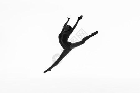 年轻美女舞蹈动作黑白剪影图片
