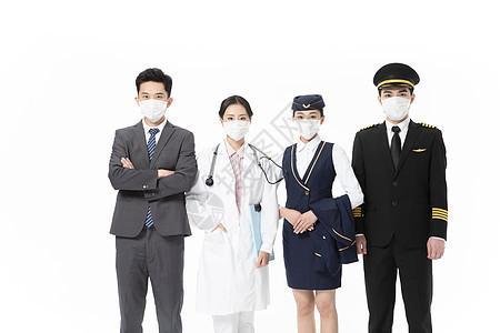 青年男女戴口罩职业形象图片